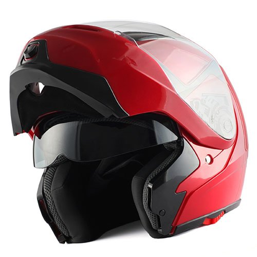 1Storm Motorcycle Street Bike Modular/Flip up Dual Visor/Sun Shield Full Face Helmet (GlossyRed, Small) ()