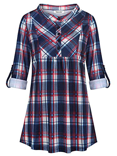 - Tencole 3/4 Tunics for Women, Petite Pleated Pintuck Button Down Tunic Round Neck Empire Waist Rolled Up Sleeve Drapey Trapeze Top Half Collared Tartan Babydoll Shirts Business Blouse for Office XL