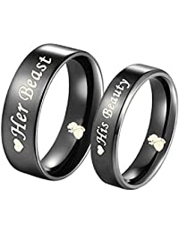 His Beauty/Her Beast Love Heart Black Stainless Steel Engagement Wedding Bands Promise Ring Anniversary Gifts