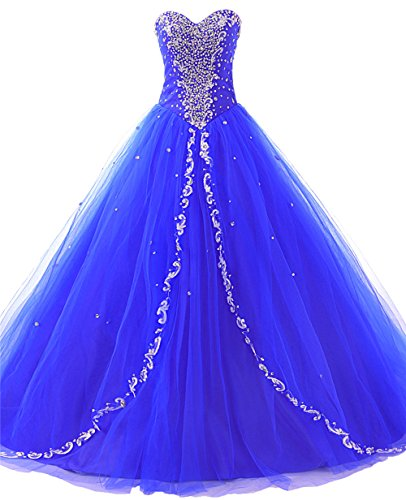 JAEDEN Wedding Sweetheart Long Quinceanera Dresses Formal Prom Dresses Ball Gown Royal Blue US16W