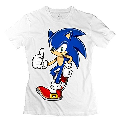 YMGG Womens Tshirts Sonic Hedgehog Size M White (Female Sonic The Hedgehog)