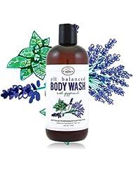 100% Natural Liquid Bath Soap, pH Balanced Body Wash for Sensitive Skin | Naturals Non Toxic Shower Gel for Men Women | Aloe, Spearmint, Lavender, Manuka