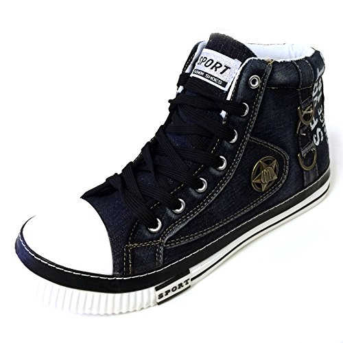 Jm-5709 Heren High-top Denim Sneakers Canvas Jeans Casual Lace-up Mode Stone Gewassen Boots Schoenen, Marine, Zwart, Kaki, Zwart / Rood Zwart