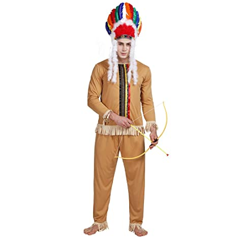 EraSpooky Adults Indian Costume Brave Caveman Native Warrior Halloween Outfit