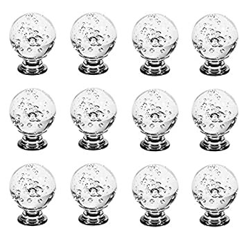 FirstDecor Aqua Blue Decorative Cute Bubbles Crystal Glass Ball Shape Knobs//Handles//Pulls for Kitchen Cabinets,Cupboards,Wardrobe,Drawer,Dresser Set of 12 PCS Closet,Checkroom