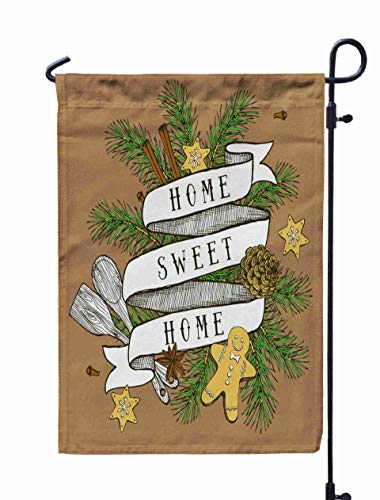 Shorping Decorative Outdoor Garden Flag, 12x18Inch Home Sweet Home Poster in Vintage Style Christmas Vector for Holiday and Seasonal Double-Sided Printing Yards Flags]()