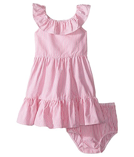 Ralph Lauren Baby Girl Seersucker Dress & Bloomer Set Pink/White (3 Months)