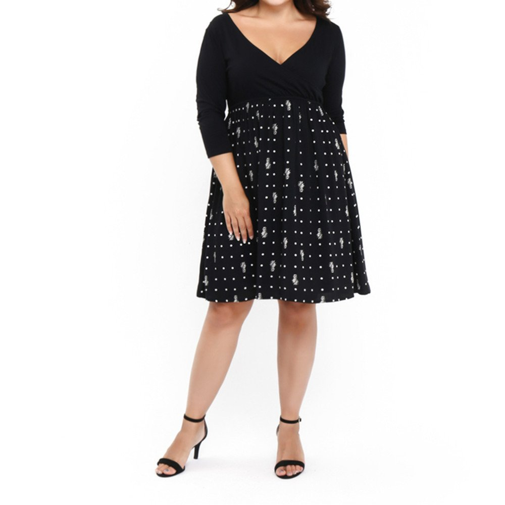 OZEA LADY Women Midi Dress Patchwork Pockets Puffy Swing Casual Party Dresses-2