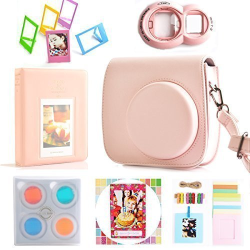 Hellohelio 7-in-1 Accessories Bundle Set for Instax Mini 8 8+ Instant Film Camera - Pink