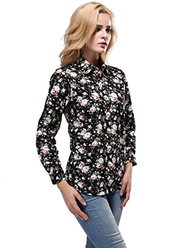 10e5c582f89 KIMIST Women s Fashion Floral Button Down Long Sleeve Shirt Casual Blouse  at Amazon Women s Clothing store