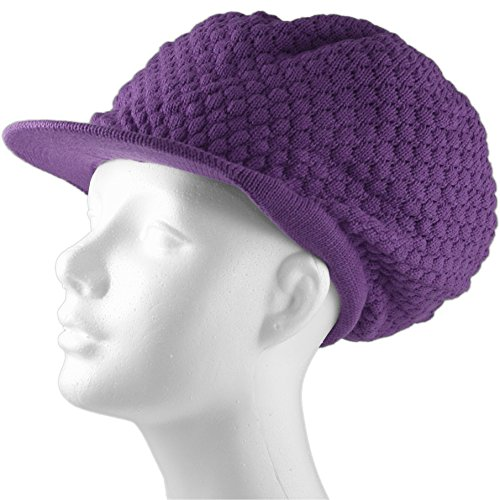 (Shoe String King SSK Rasta Knit Tam Hat Dreadlock Cap (Large Round Solid Purple w/Brim))