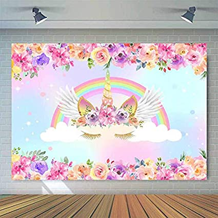 Amazon Com Allenjoy 7x5ft Rainbow Unicorn Birthday Backdrop Purple