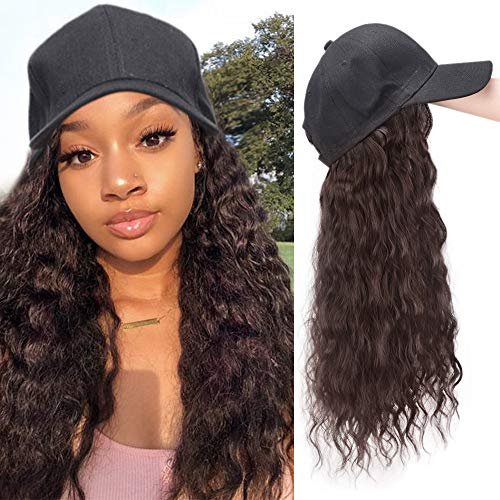 Synthetic Long Wave 1 Pack Baseball Hat with Hair Extension Long Curly Wave Hair Extensions with Baseball Cap Removeable (Dark Brown)]()