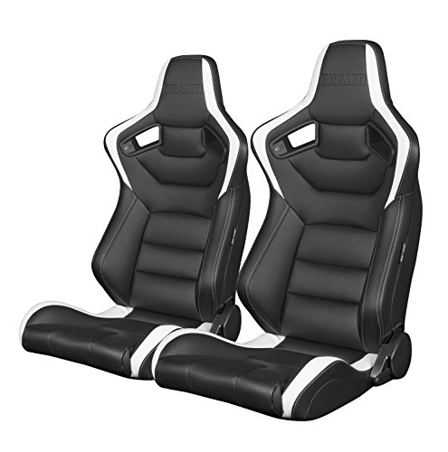 BRAUM - Pair of Black and White Leatherette Carbon Fiber Mixed ELITE Racing Seats (BRR1-BKWW) ()