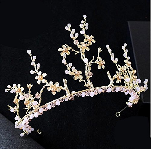 Olici Bridal Wedding/Prom Hair Pins/Headdress Accessories/Party/Girls Sweet Pink Gold Crown Ornaments Es And ()