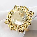 Tangpan 10pcs Gold-light Napkin Ring Rhinestones Napkin Rings for Weddings Pearl Napkin Rings Shiny (Clear)