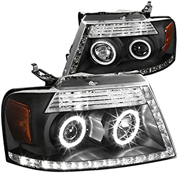For 2004-2008 Ford F150 Smoke R8 Halo Projector Headlights+Bumper LED Fog Lamps
