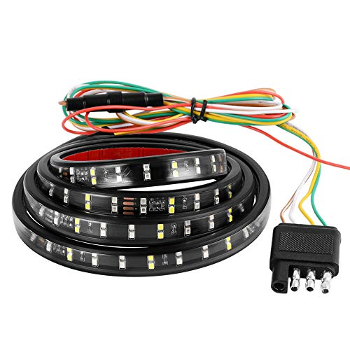 YITAMOTOR 60 LED Truck Tailgate Light Bar Strip Double Row LED Flexible Strip Running Turn Signal Brake Reverse Tail light for Pickup Trailer SUV RV VAN Car Towing Vehicle, Side Bed lights, Red/White