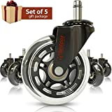 Office Chair Caster Wheels Gift Set of 5 - Protect All Your Floors - 3'' Heavy Duty Replacement Rollerblade Rubber Chair Casters - Best Protection for Your Hardwood Floors