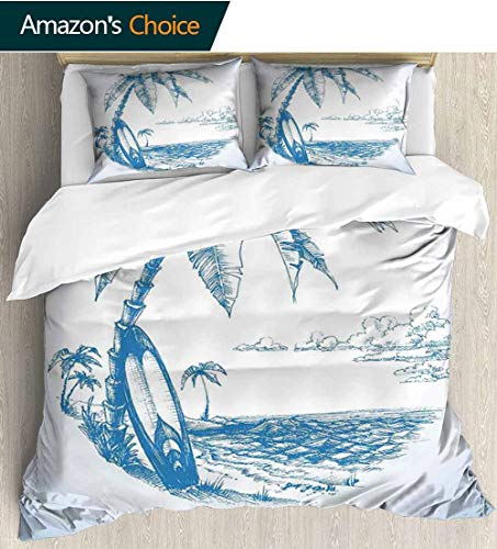 shirlyhome Surf Cotton Bedding Sets,Contemporary Sketch Illustration Hawaiian Beach with Surfboard Palms and Ocean Water Kids Bedding-Does Not Shrink or Wrinkle 87