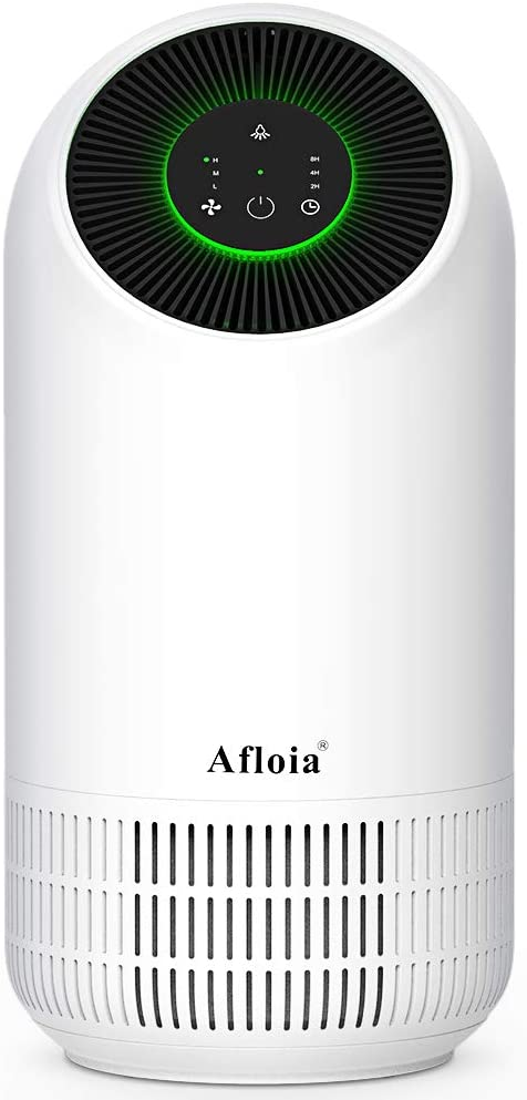 Afloia Purificador de Aire portátil para el hogar, filtro de Aire con verdaderos filtros HEPA,Libre de Ozono, 3 Velocidades, Luz Nocturna, Capturar Alergias, Polen, Humo, Olor y Caspas de Mascota: Amazon.es: Hogar