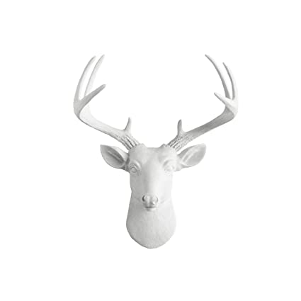 luxury ideas fake deer. Mini Deer by Wall Charmers  White Faux Head Mount Bust Fake Animal Resin Taxidermy Sculpture Amazon com