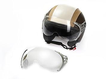 Casco de Moto Casco Jet Roller cmx Chap XL Color Blanco con cuero marrón Incluye Visera