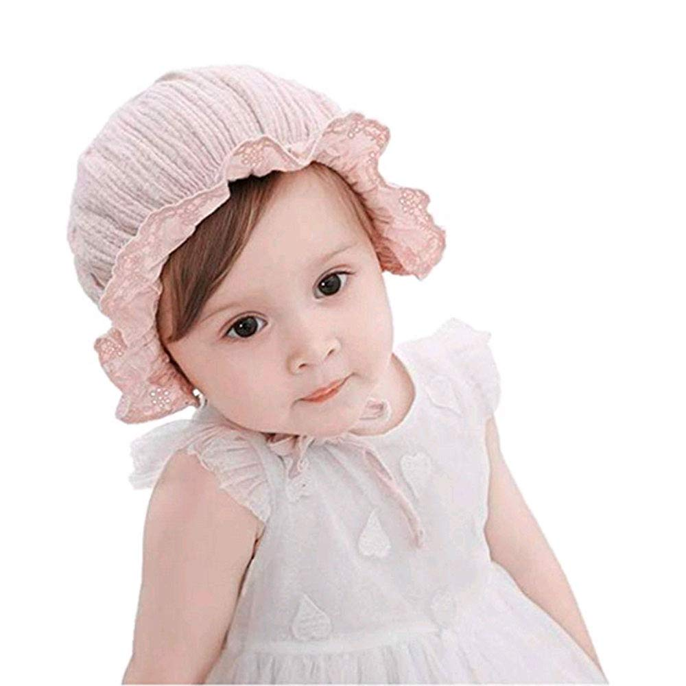Baby Bonnet Hat,Baby Girl Toddlers Breathable Lacy Bonnet Eyelet Cotton Adjustable Sun Protection Hat