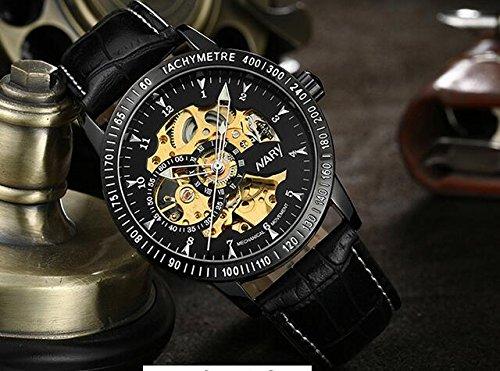 メンズクラシック腕時計スチールスケルトン自動機械ミネラルガラススポーツ腕時計光ポインタ gold&black with brown leather band B06Y4QZH8Pgold&black with brown leather band
