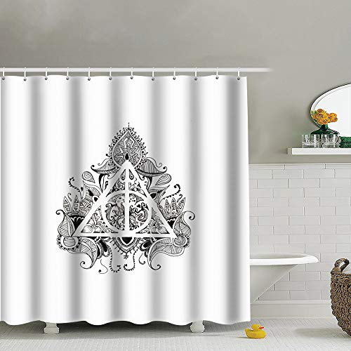 best bags Graphic Symbol Deathly Hallows Black White Harry Shower Curtain Set, Relaxing Summer Landscape Bathroom Decor,Shower Curtain Set Waterproof 60X72 Inch (Harry Potter And The Deathly Hallows Drawings)