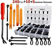 #LightningDeal KCRTEK 255pcs Car Retainer Clips,Plastic Push Rivets auto Parts & Accessories with 12 Sizes for Toyota,GM,Ford,Honda,Acura,Chrysler