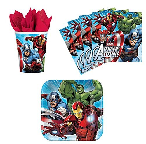 Marvel Avengers Assemble Birthday Party Supplies Set Plates Napkins Cups Kit for 16