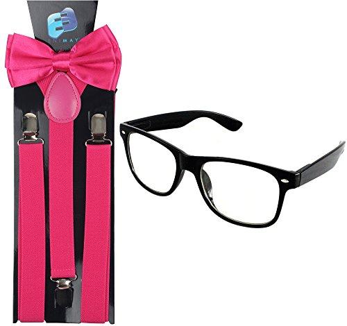 Enimay Suspender Bowtie Wayfarer Clear Glasses Nerd Costume Halloween Hot Pink