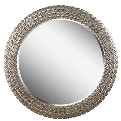 Kenroy Home 61016 Bracelet Wall Mirror, 35 Inch Diameter, Brushed Silver and Gold - INTERLOCKING PATTERN: The silver finish clings to the interlocking pattern on this contemporary round wall mirror. This mirror is ideal for any modern metallic living room or posh luxe master bathroom. DIMENSIONS: 35 Inch Diameter, 1 Inch Ext QUALITY MIRROR FINISHING: Quality 5 mm thick glass mirror backed by silver for longevity - bathroom-mirrors, bathroom-accessories, bathroom - 51WT5DVIjSL. SS400  -