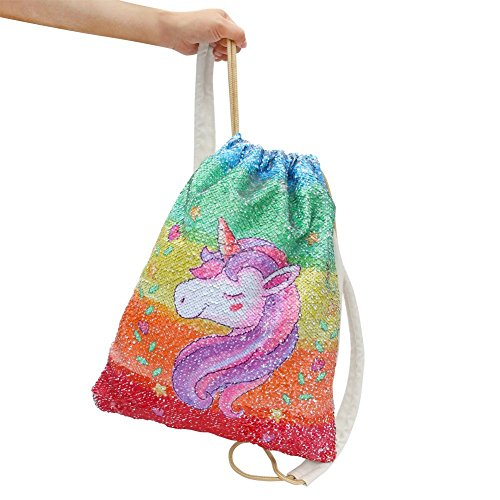 Mermaid Drawstring Bag Magic Reversible Sequin Backpack Glittering Dance School Bag for Yoga Outdoors Sports, for Girls Women Kids (Colorful Unicorn) by Segorts (Image #2)