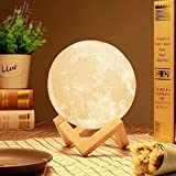 Moon Light - 3D Printing Moon - Stepless Dimmable - Moon Lamp Shade - Warm and White Touch Control Brightness with USB Charging - Moon Decor - Lunar Night Light with Wooden Mount - Moon Gifts