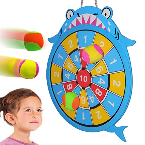 Target Toss Game - WEY&FLY Sticky Darts Board Set, Novelty Fabric Shark Dart Board Double-Sided Ball Board Game with 4 Soft Balls Safe for Kids Fun for Adults