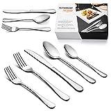 LIANYU 40-Piece Silverware Cutlery Flatware Set for 8, Stainless Steel Tableware Eating Utensils, Mirror Finish, Dishwasher Safe