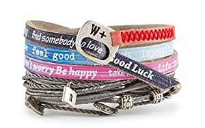 We Positive We+ Friendship Leather Wrap Message Italian Bracelet Nice Charms Collection Multicolor NI514