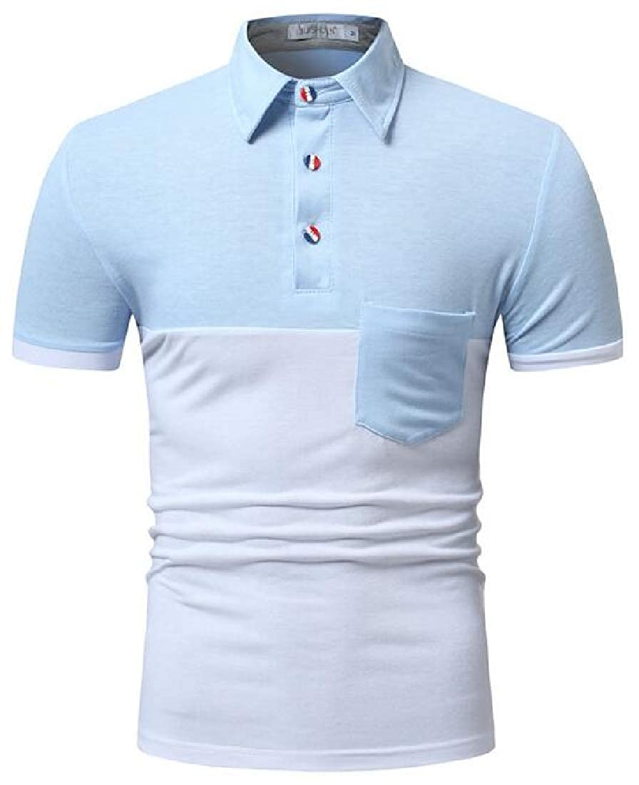 Domple Mens Short Sleeve Casual Color Block Patchwork Formal Work Polo Shirt
