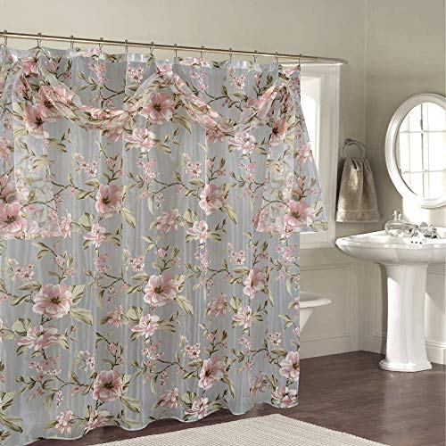 (BH Home & Linen Decorative Sheer Scarf Shower Curtain with Floral Designs 70
