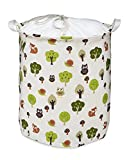 Org Store Cotton Fabric Collapsible Laundry Basket Dirty Clothes Hamper - Perfect for College Dorms, Kids Room & Bathroom (Forest Patterned)
