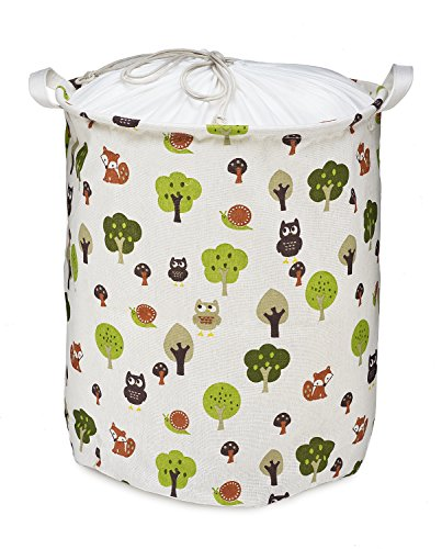 Org Store Cotton Fabric Collapsible Laundry Basket Dirty Clothes Hamper - Perfect for College Dorms, Kids Room & Bathroom (Forest Patterned) by Org Store (Image #4)