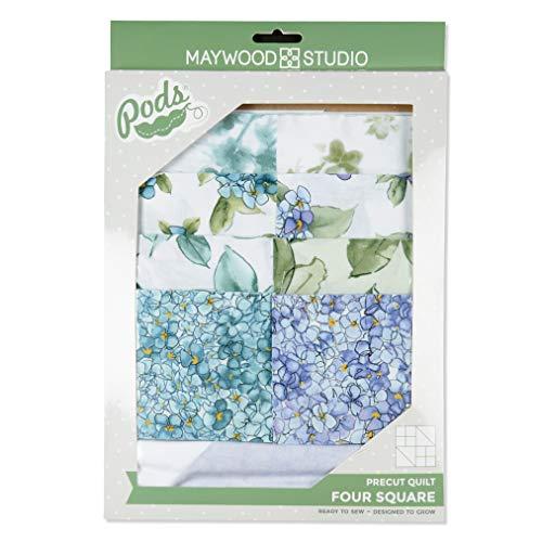 (Maywood Studio Watercolor Hydrangeas Pod Four Square Quilt Kit Fabric, Multicolor)