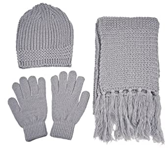 AMC Unisex Warm Knitted Winter Set - Beanie, Gloves and Scarf, 57_Grey