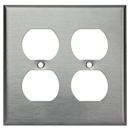 Enerlites 7722 Duplex Metal Wall Plate by Electrical Outlet Cover, 2-Gang Standard Size, Unbreakable Stainless Steel