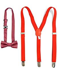 Boys 8-12 YRS Old 3 PC Clip-on Suspenders,Banded Pre-Tied Bow Tie and Hankie Set