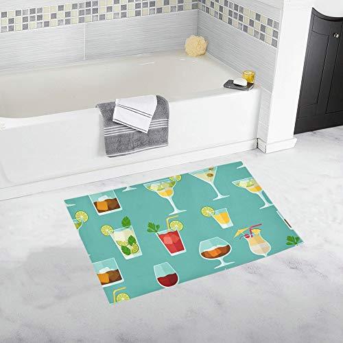 Cocktail Color Design Creative Romance Custom Non-Slip Bath Mat Rug Bath Doormat Floor Rug for Bathroom 20 X 32 Inch