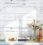 HaokHome MR47 Peel and Stick Wood Wallpaper Shiplap Light Grey/White Distressed Wood Plank Removable Wallpaper Self…