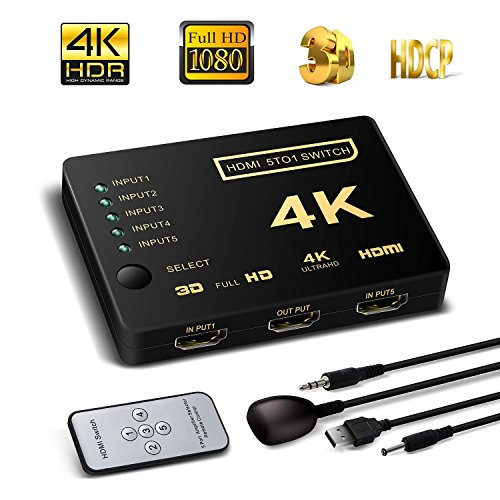 HDMI Switch 5X1, Support HDCP 1080p 5 in 1 out HDMI Switcher